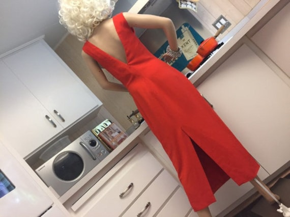 Versace Low Back Tomato Red Dress