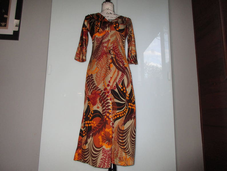 Coolest 1970/'s French Midi Dress Fall Colors Size Small Really Chic