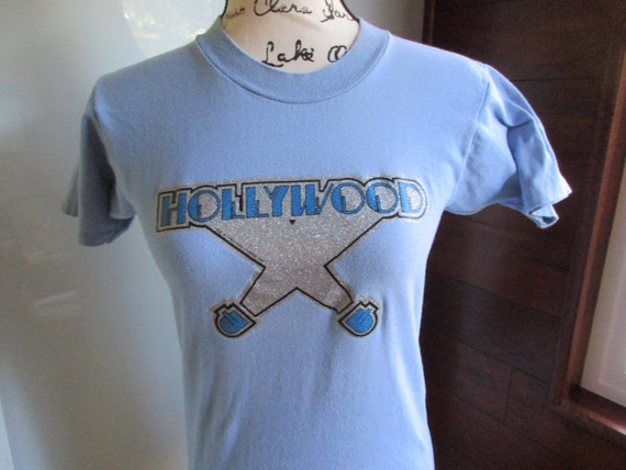 Vintage Glitter Hollywood Sign T-Shirt 1970's Baby