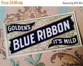 ON SALE 6 Antique Golden 39 s Blue Ribbon Cigar Box Labels Tobacco Smoke Embossed, Lithograph Ephemera Lot NOS