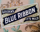 6 Antique Golden 39 s Blue Ribbon Cigar Box Labels Tobacco Smoke Embossed, Lithograph Ephemera Lot NOS