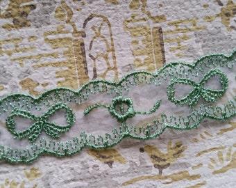 Elegant Vintage Green Embroidered Sheer Bow Trim | LIMITED SUPPLY