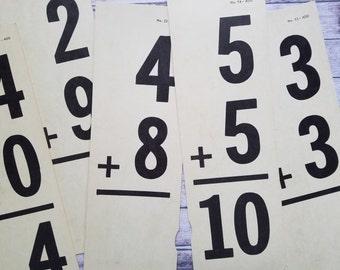 Vintage Math Flash Cards   Large School Arithmetic Flash Cards   Addition