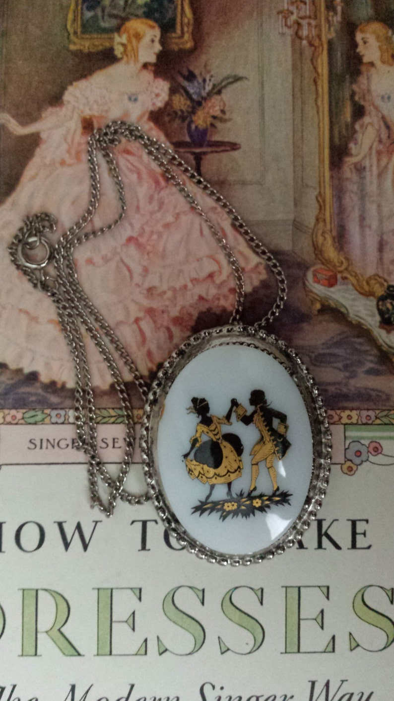 NOS Antique Young Couple Cameo Silhouettes NecklaceBrooch Costume Pin