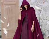 hooded wool cloak, maxi wool coat in mulberry (8 colors), 100 cashmere cloak cape, pure wool cape, holiday gift Linennaive