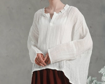 Fairy Shirt Tunic in white / Loose Blouse/ linen shirt / long-sleeved linen tunic / Oversize Top/ drop shoulder sleeve blouse