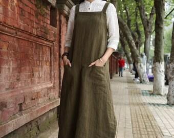 Linen Pinafore Dress, Linen Apron Dress, linen halter dress, Maxi Linen Dress , Green Linen Dress, Linen Wrap Dress, Layered Dress