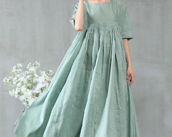 8d989fc37c linen dress in aqua green