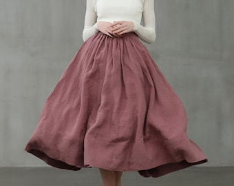 ashed lilac midi linen skirt, a line skirt, pleated flared skirt, 1950 skirt  | Linennaive