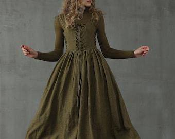 Corset Linen Dress in Dark Green, Front Lace-up Dress, Mid calf Dress, Cocktail Dress | Linennaive