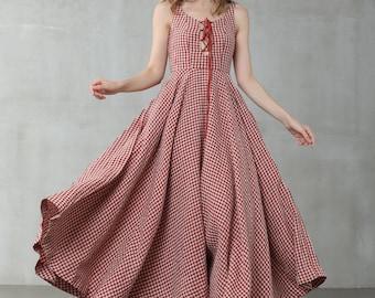 Strappy Maxi Linen dress, Red Check Linen Dress, Slip Dress, Bracelet Linen Dress, Girdle Fitted Dress, 1950s Dress | Linennaive