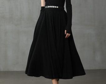 black wool skirt, winter wool skirt, midi wool skirt, black skirt, party skirt, winter warm skirt, vintage skirt. long skirt    Linennaive