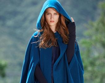 Maxi Hooded Wool Coat Cloak, 100% Cashmere cape, Maxi wool Cape, Hooded Cape, Wool Hooded Cloak In Green Black Grey blue, Long Wool Jacket