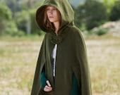 Green Hooded Wool Coat ,wool Cloak Cape, Cashmere Women Wool Winter Coat Long Jacket, Christmas Gift Coat, Black Cashmere Coat Cape Cloak