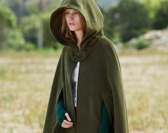 Green Hooded Wool Coat ,wool Cloak Cape, Cashmere Women Wool Winter Coat Long Jacket, Christmas Gift Coat, Black Cashmere Coat Cape Cloak