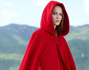 red hooded coat, wool coat, cashmere coat, red coat, hooded jacket, 100% wool poncho, hooded cape, hooded cloak, wool cloak, red coat