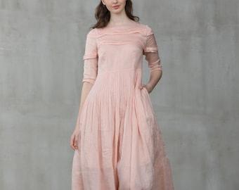 linen dress, luscious pink dress, maxi dress, wedding dress, bridal dress, maxi linen dress, pintuck dress, maxi formal dress   Linennaive