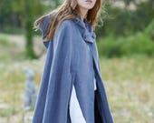 gray wool coat, cashmere coat, wool cloak in gray, wool cape, short coat, wool poncho, 100 wool coat, winter coat, hooded coat Linennaive