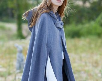 gray wool coat, cashmere coat, wool cloak in gray, wool cape, short coat, wool poncho, 100% wool coat, winter coat, hooded coat, hooded cape