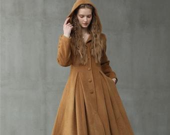 retro hooded wool coat, maxi camel coat, cashmere wool coat, vintage coat, winter coat, fit and flare coat | Linennaive