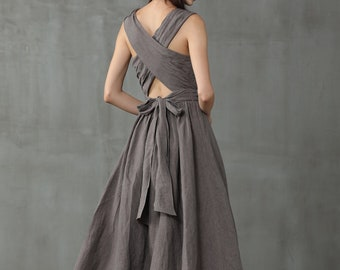 cross back linen dress, maxi linen dress, gray linen dress, sleeveless dress, layered linen dress, halter dress, apron dress   Linennaive