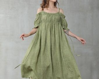 off shoulder linen dress, wedding linen dress in green, bracelet dress, linen kaftan, princess dress   Linennaive