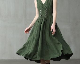LINEN DRESS winter linen dress wide dress green dress black dress linen dress loose oversize dress cocktail dress