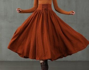 Lace-up Maxi Linen Skirt, girdle linen skirt in burnt orange and dark brown, retro skirt, winter skirt, flared skirt |Linennaive