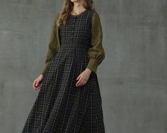 tartan linen dress, linen pinafore dress, check dress, green blue linen dress, french dress | Linennaive