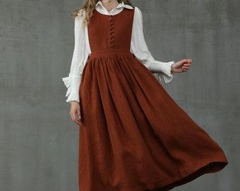 buttoned up linen dress, apron linen dress in chocolate, pleated linen dress, bow linen dress, linen midi dress | Linennaive