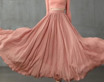 pink maxi linen skirt, maxi skirt, pink skirt, wedding skirt, bridal skirt, full skirt, long skirt   Linennaive