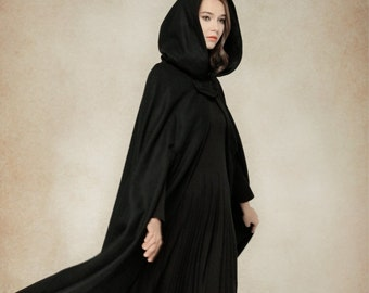 Wool Coat Jacket, Wool Cape, Black Hooded Cloak, Winter Cape, Black Cape, 100% Wool Black Cloak, Maxi Coat, Long Wool Coat,   Linennaive