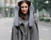 maxi wool poncho cape in grey, black, red, blue, long hooded wool cashmere coat cape, maxi coat, maxi wool cape, wool cloak Linennaive