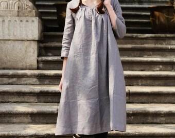 Linen Tunic Dress Grey Dress , Long Linen Dress, Linen Shirt Dress, Oversized Dress, Linen Kaftan Dress, linen tunic, Grey Dress, Boho