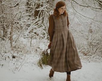 Cézanne wool dress check winter dress pinafore dress | Linennaive