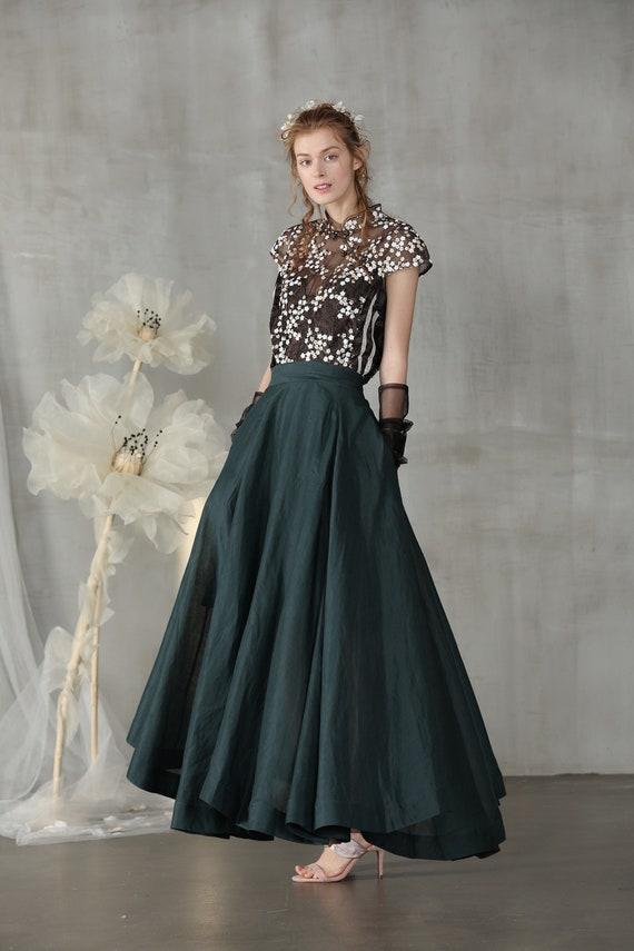 linen skirt, maxi skirt, teal green skirt, wedding skirt, bridal skirt, full skirt, long skirt, flared skirt, skater skirt   Linennaive