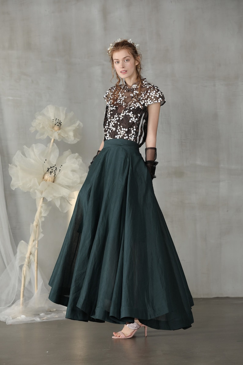 Cottagecore Clothing, Soft Aesthetic linen skirt maxi skirt teal green skirt wedding skirt bridal skirt full skirt long skirt flared skirt skater skirt | Linennaive $89.00 AT vintagedancer.com