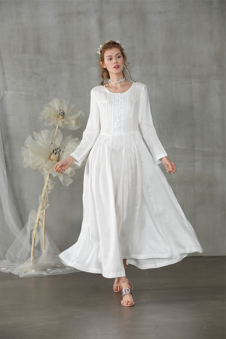1920s Outfit Ideas: 10 Downton Abbey Inspired Costumes white dress linen dress maxi dress longsleeve dress wedding dress white linen dress cocktail dress bridal | Linennaive $128.00 AT vintagedancer.com