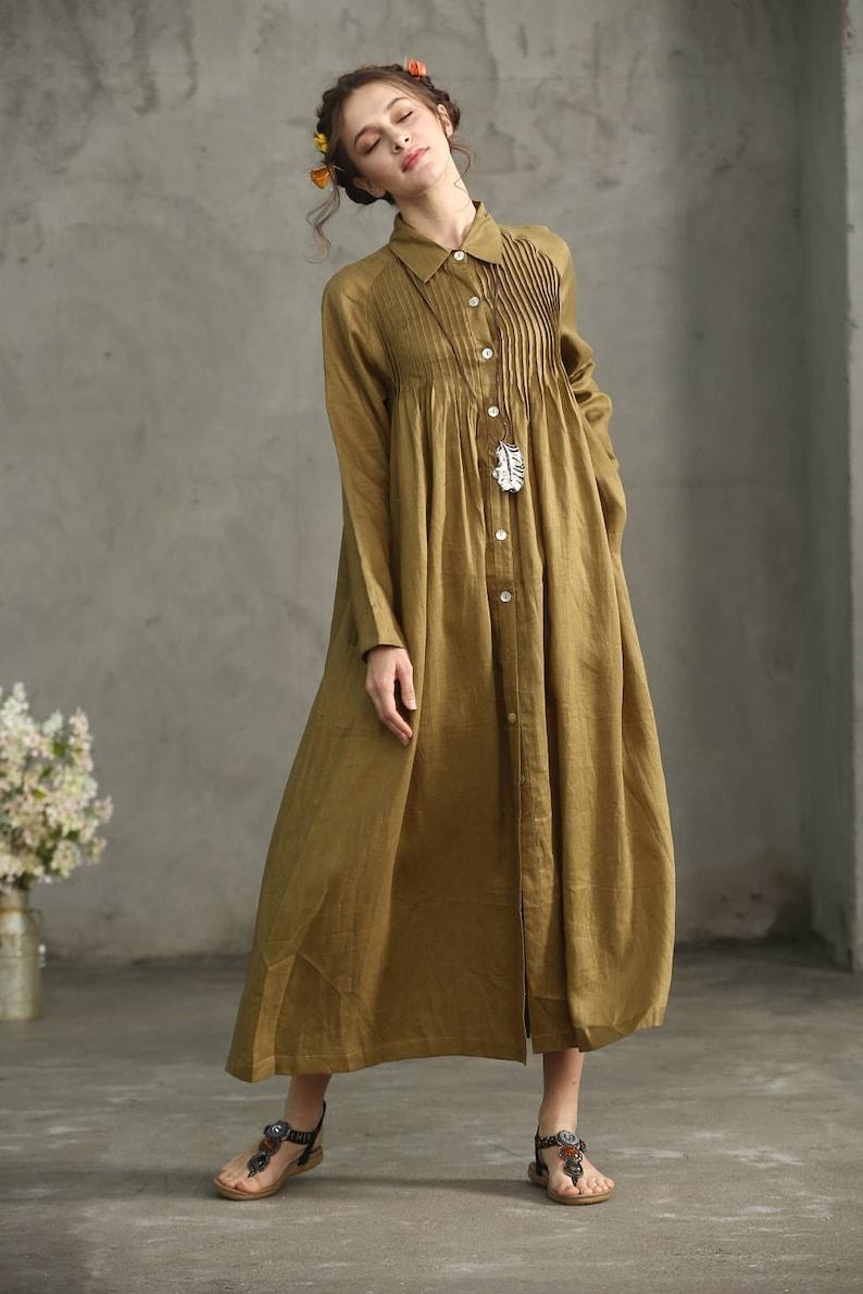976d72d44977 Golden Linen Shirt Dress button down linen dress Drop