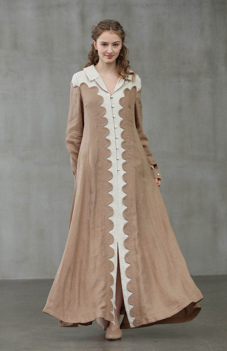 Vintage Coats & Jackets | Retro Coats and Jackets linen collared dress Linen coat dress little women dress longsleeve linen dress shirt dress victorian dress | Linennaive $169.00 AT vintagedancer.com