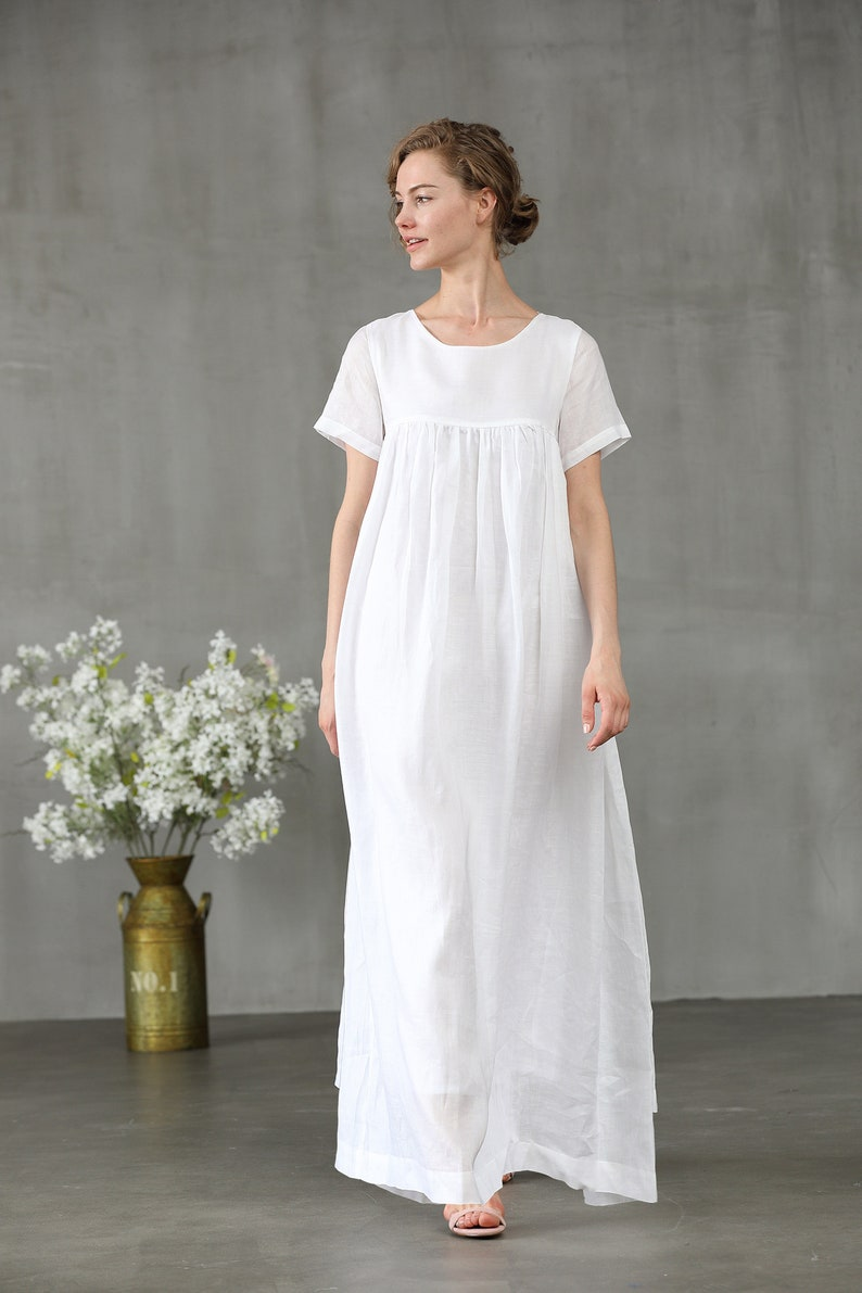 1920s Style Underwear, Lingerie, Nightgowns, Pajamas white dress linen dress maxi dress short sleeve dress linen kaftan wedding dress high waist dress loose fitting | Linennaive $59.40 AT vintagedancer.com