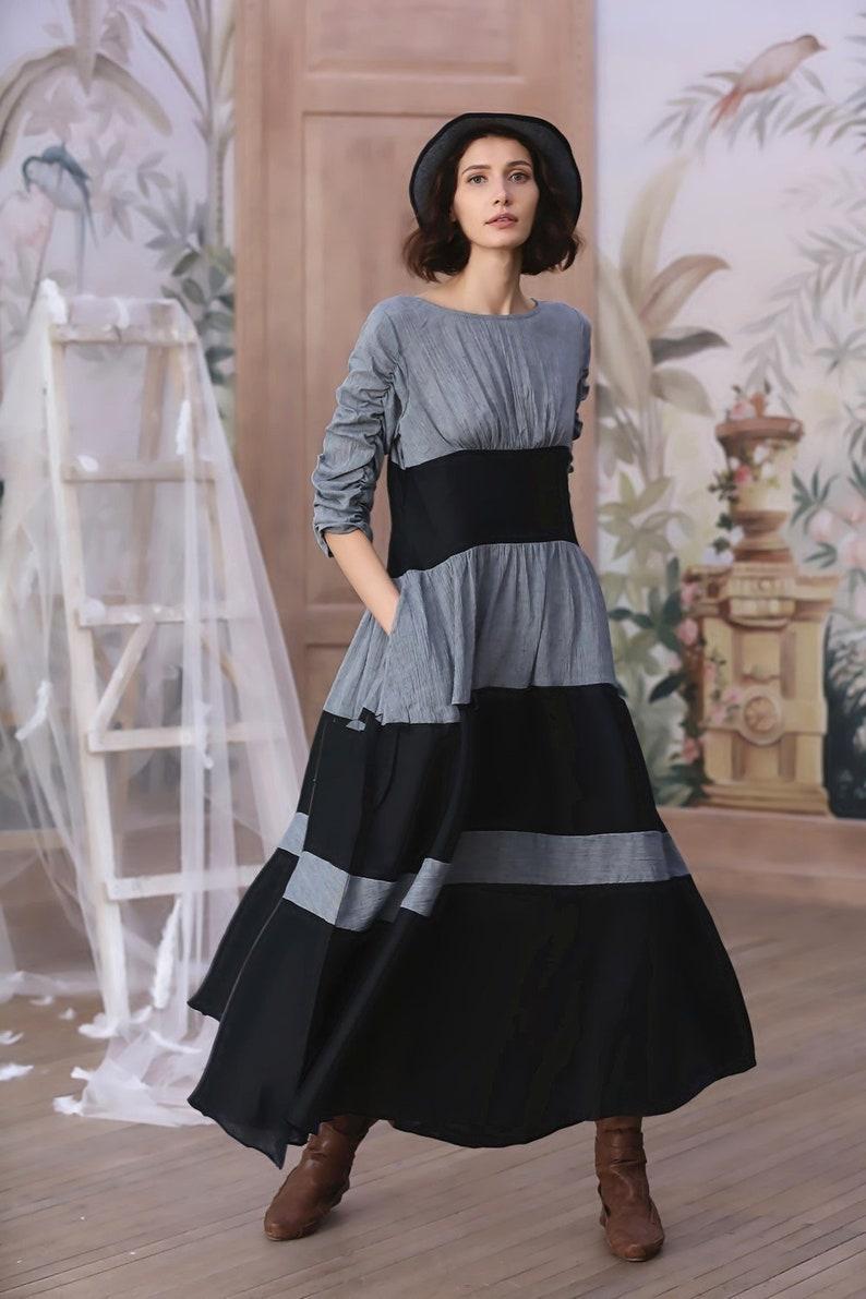16215ea7290 Robe de lin du choc de couleur robe de lin à longue manche