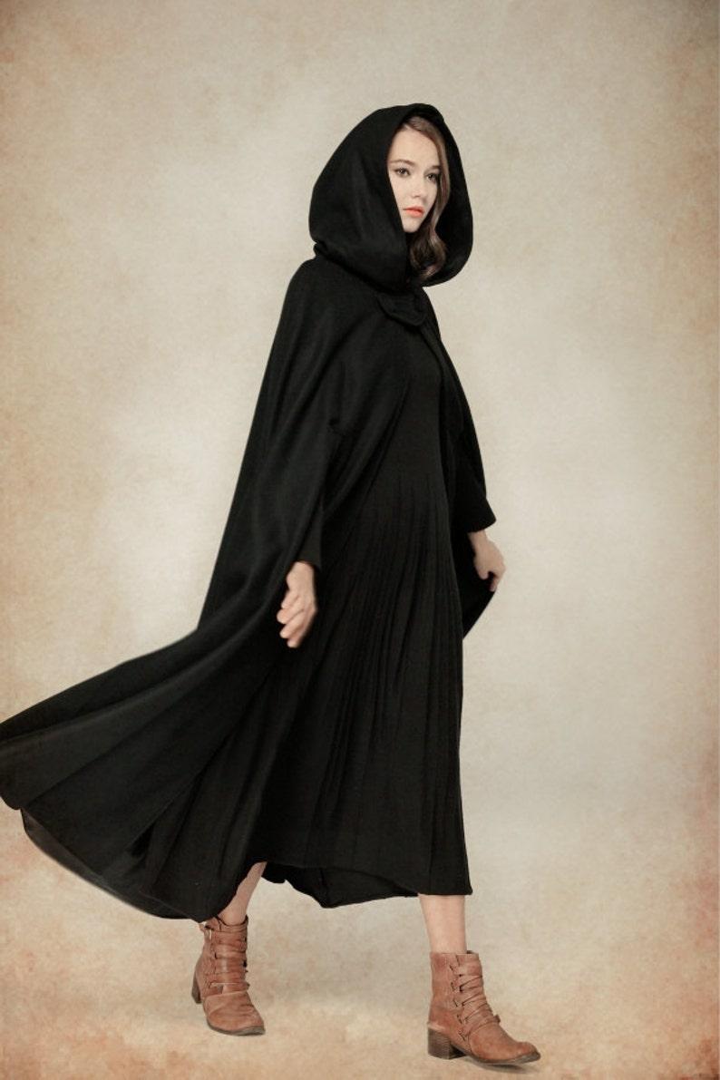Long Wool Coat Wool Cape | Linennaive Wool Coat Jacket Black Cape Black Hooded Cloak 100/% Wool Black Cloak Winter Cape Maxi Coat