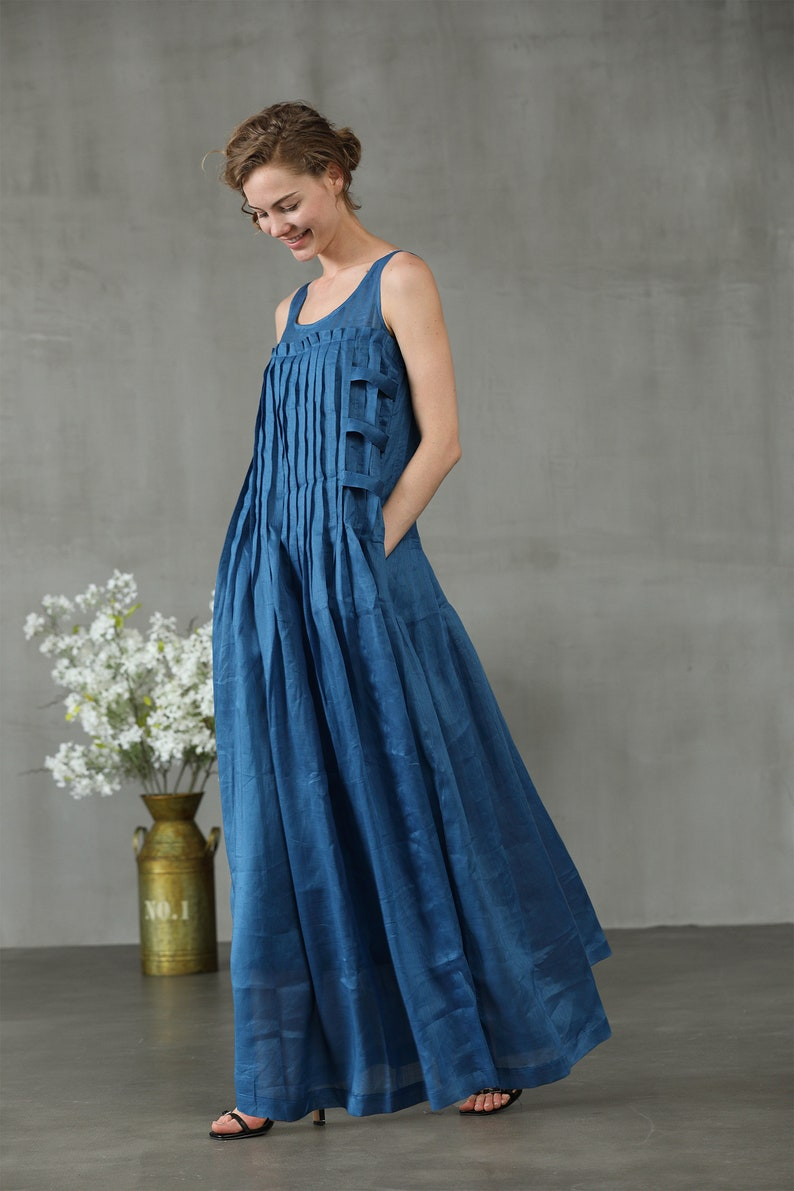 6d122432956b Linen dress in blue maxi dress pintuck dress linen maxi