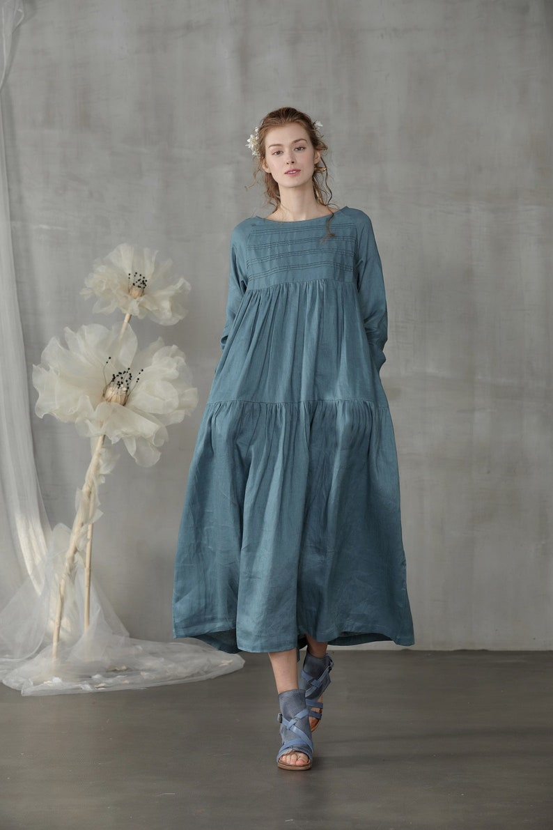9cf031e58230 Linen dress in stone blue pleated dress maxi dress