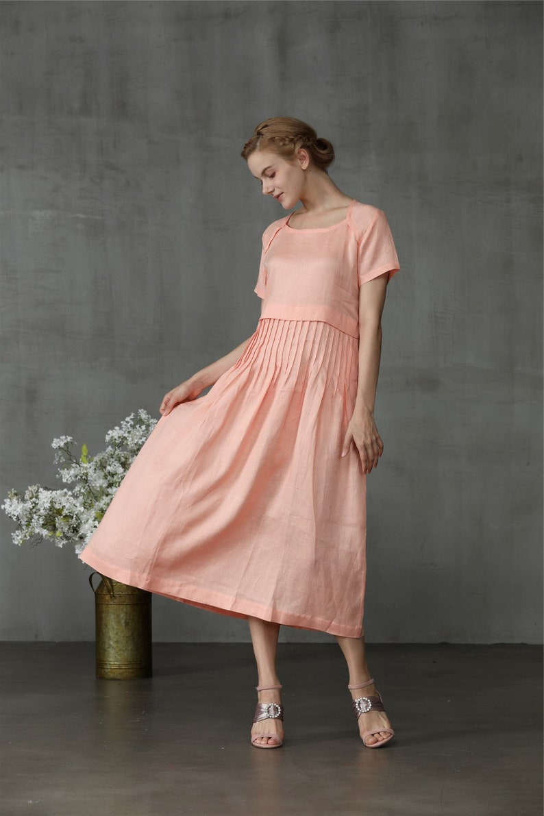 1920s Day Dresses, Tea Dresses, Mature Dresses with Sleeves linen dress tunic dress pink dress layered dress summer dress linen tunic dress maxi dress midi dress | Linennaive $71.40 AT vintagedancer.com