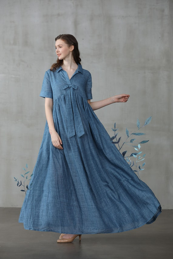 linen dress, maxi dress, blue dress, plus size dress, shirt dress, empired  dress, wedding dress, boho dress, pocket dress | Linennaive