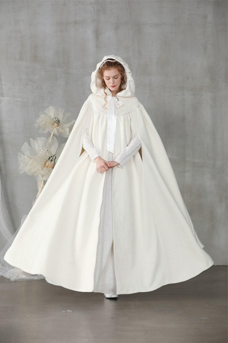 white wool cloak maxi wedding cloak hooded cloak white image 0