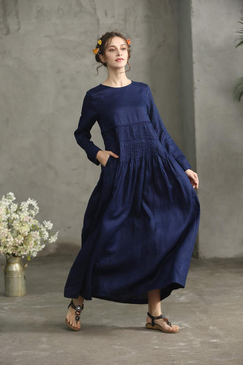 bc95f6cb48 Navy Linen Dress Maxi Dress Maxi Linen Dress Pleated Waist