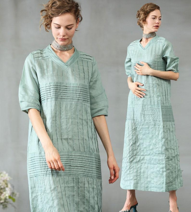 4b6f625a3f4 Maxi Linen Dress In Aqua linen kaftan maxi dress pleated